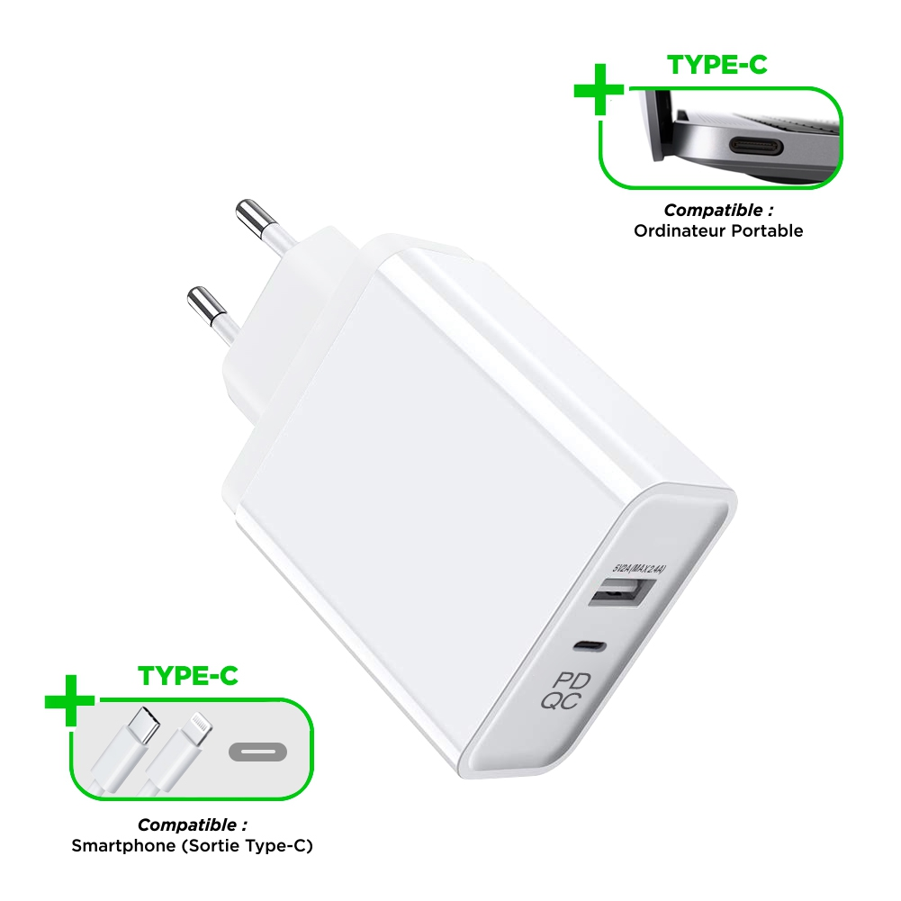 Chargeur Secteur 2,4A 5V-45W 1 USB-A + 1 USB-C Fast Charge