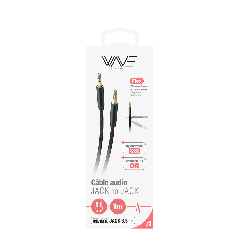 Câble Nylon  - Audio Stéréo - Jack/Jack 3,5mm