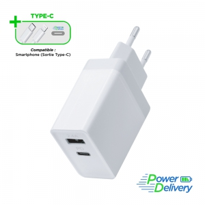 Chargeur Secteur - 1 port USB-A + 1 port USB-C ( 12w+18W) 30W Fast Charge