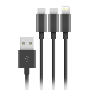 Câble Nylon Elégance 3en1 = Lightning + Micro USB + USB-C
