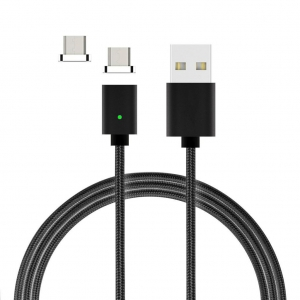 Câble Nylon Magnétique Fast Charge + 2 embouts Micro USB Wave Concept