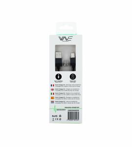 Câble Nylon Magnétique Fast Charge 2.4A + 2 embouts USBC Wave Concept