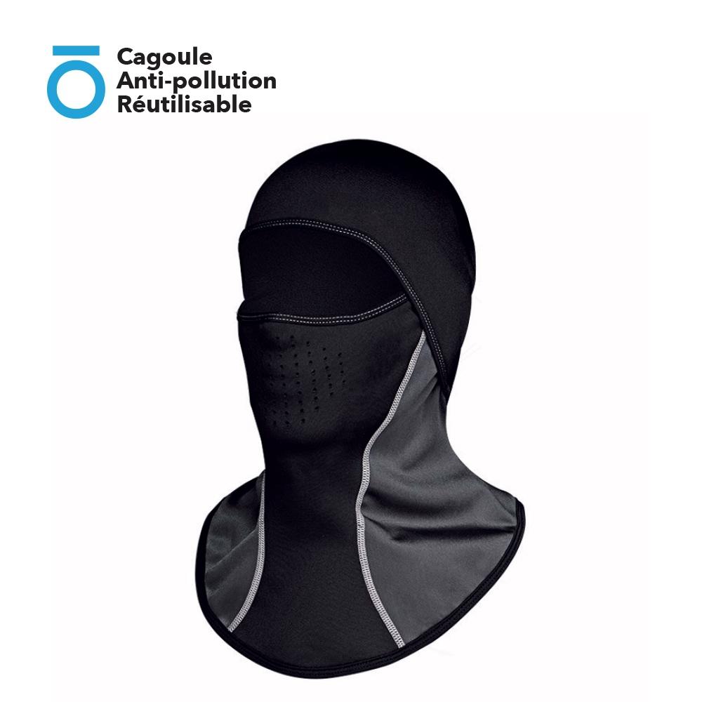 Cagoule Anti-pollution Réutilisable (Filtre intégré + Passage lunette + Protège du vent et du froid)