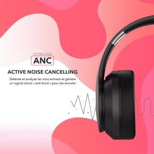 Casque Bluetooth stéréo avec Fonction ANC Réduction de Bruit