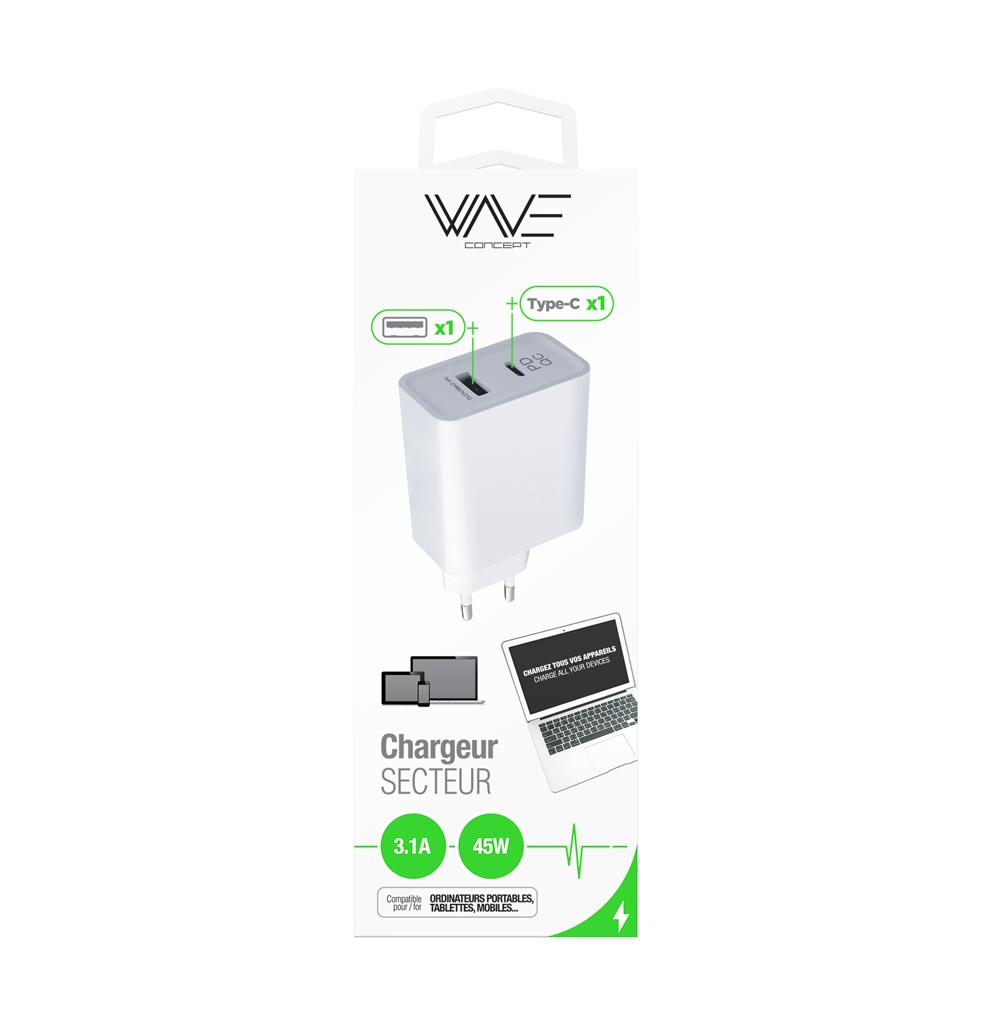 Chargeur Secteur 2,4A 5V-45W 1 Port USB-1 Port Type C
