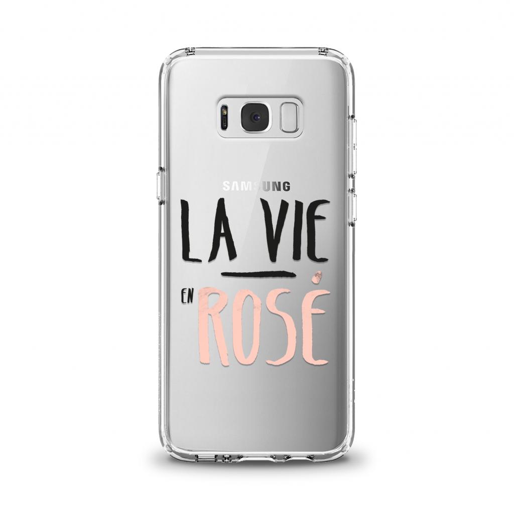 """Cover en TPU \""""La vie en rosé\"""" pour Samsung Galaxy Série J"""