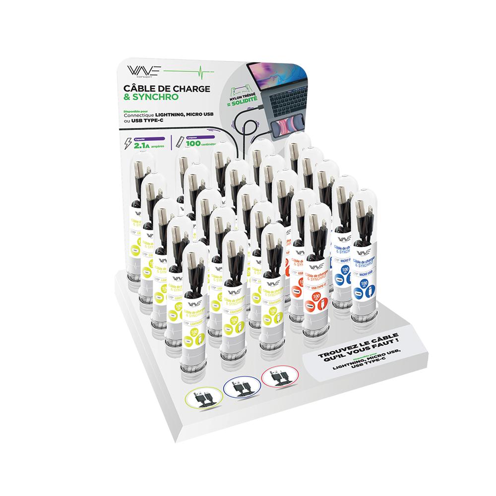 Display Comptoir 30 Tubes Câbles Mixte Type-C / Micro-USB / Lightning