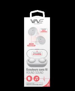Ecouteurs Bluetooth Round Sound avec Dock de Charge