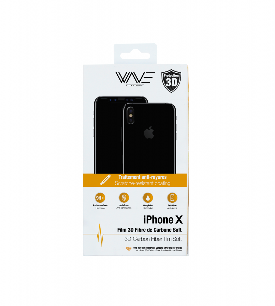 Film en Fibre de Carbone iPhone X 3D Soft Wave Concept