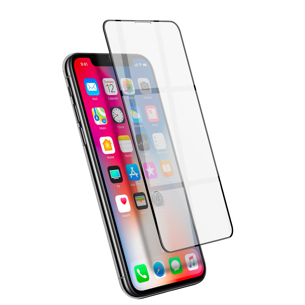 Film en verre trempé 6D pour iPhone X/XS Black