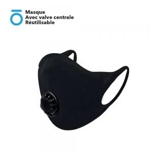 Masque Avec valve centrale Réutilisable ( Valve centrale compatible casque intégral Attache oreille slim, sans gêne,  Clip nasal