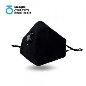 Masque Avec valve Réutilisable (Valve anti buée + Clip nasal ajustable + Attache oreille réglable)