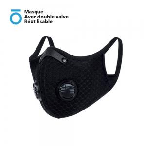 Masque en Micro Maille Avec double valve Réutilisable  (2 valves avec filtre à charbon actif + Clip nasal ajustable)
