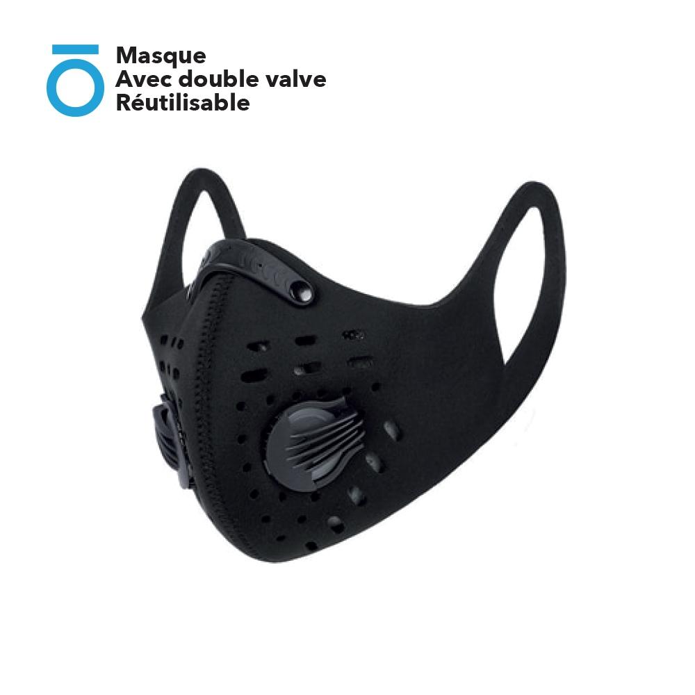 Masque en Néoprène Avec double valve Réutilisable (2 valves avec filtre à charbon actif + Clip nasal ajustable)