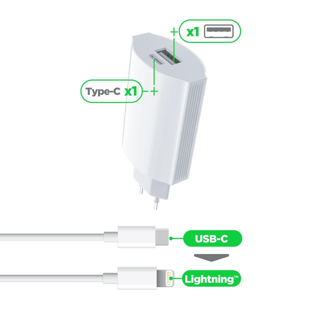 Pack Chargeur Secteur 2A +port Usbc 2.0 avec Câble Lightning-Usbc