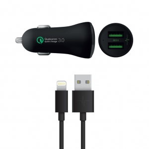 Pack Chargeur Voiture QualComm 3.0 3A + Câble Lightning