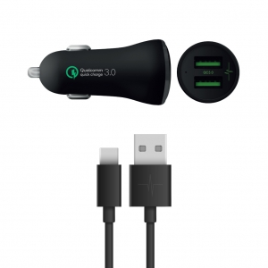 Pack Chargeur Voiture QualComm 3.0 3A + Câble USB Type-C