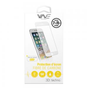 Protection d\\\'écran 3D pour iPhone 7+/8+ en fibre de carbone Soft White