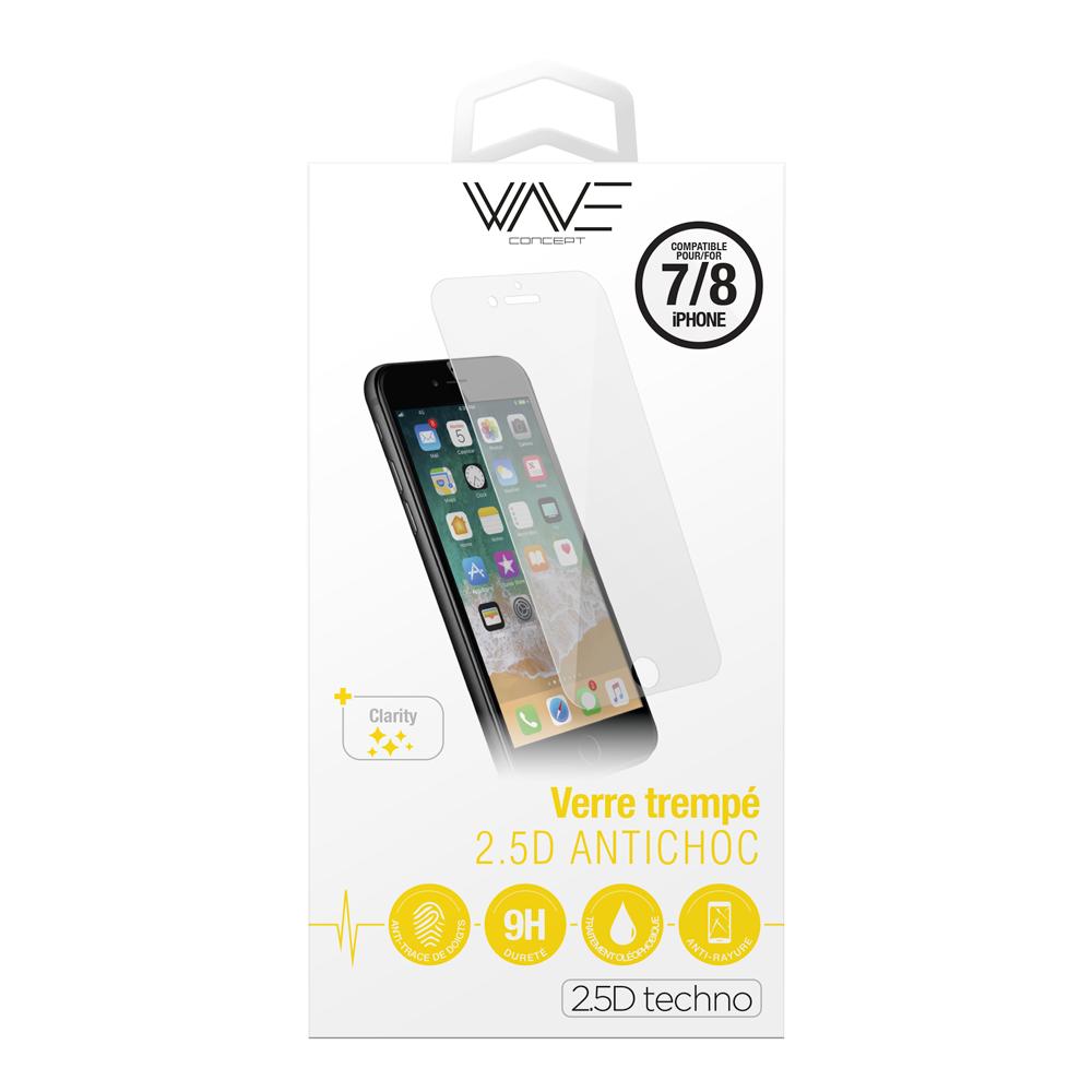 Protection d\\\'écran pour iPhone 7/8 en verre trempé antichoc
