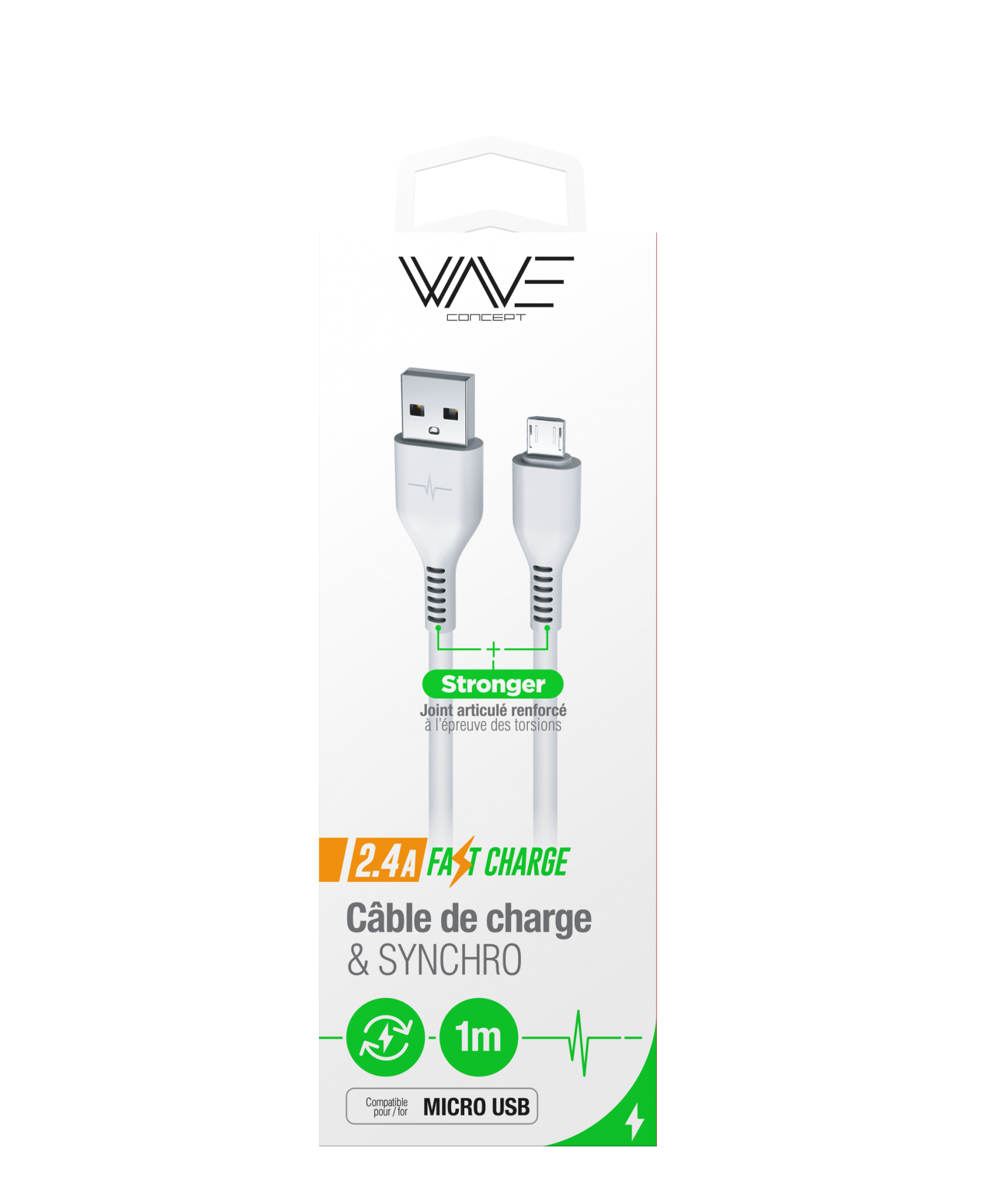 Câble Data 2,4A Fast Charge Micro Usb - 1M