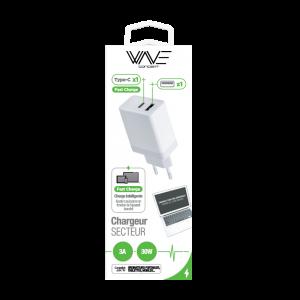 Chargeur Secteur - 1 port USB & 1 port USBC ( 12w+18W) 30W Fast Charge