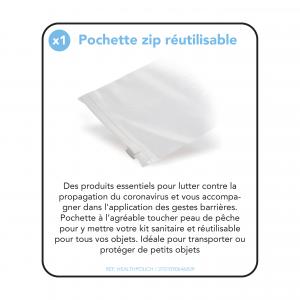 Kit Sanitaire journalier avec pochette transparente réutilisable