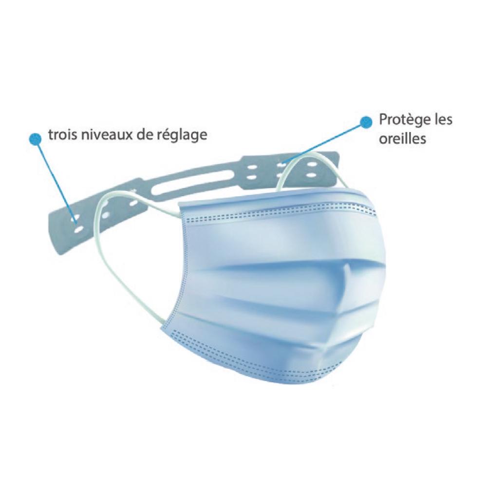 Languette silicone pour masque avec 3 niveaux de réglages (sachet de 10 assorties)