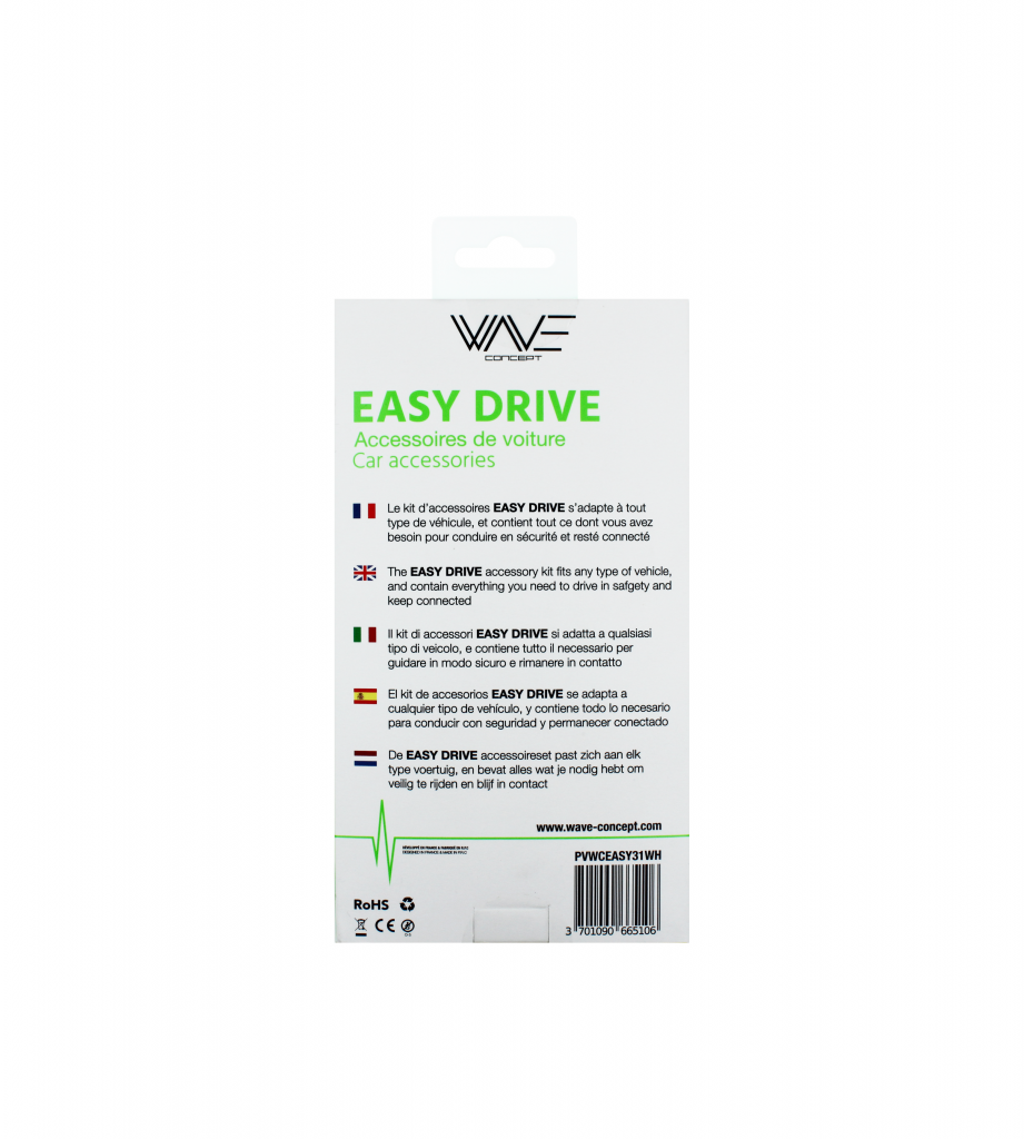 Pack Car EASY DRIVE 3.1A (Support + Cable 3 en 1 Blanc)