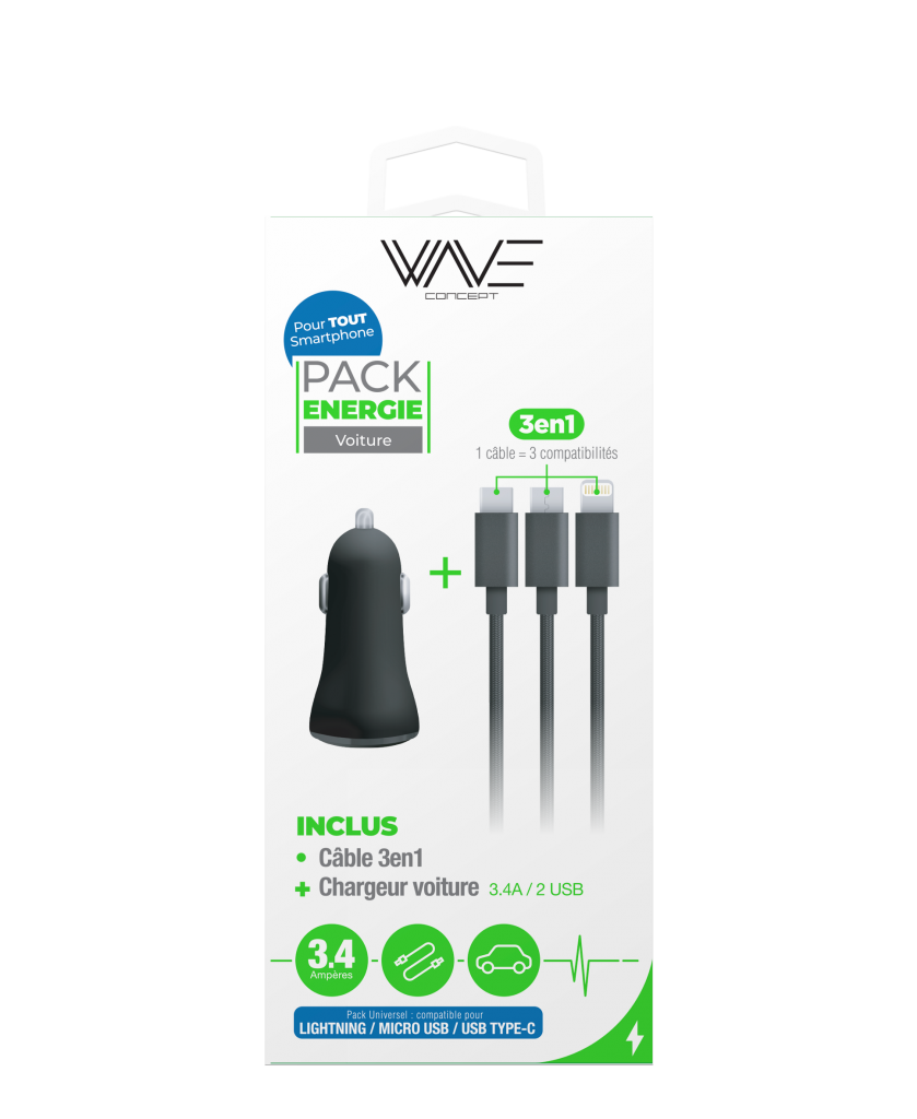 Pack Chargeur Allume Cigare 3,4A + Câble 3 en 1 Nylon