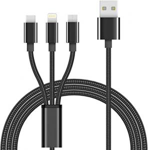 Pack Chargeur Secteur 1A + Câble 3 en 1 Nylon