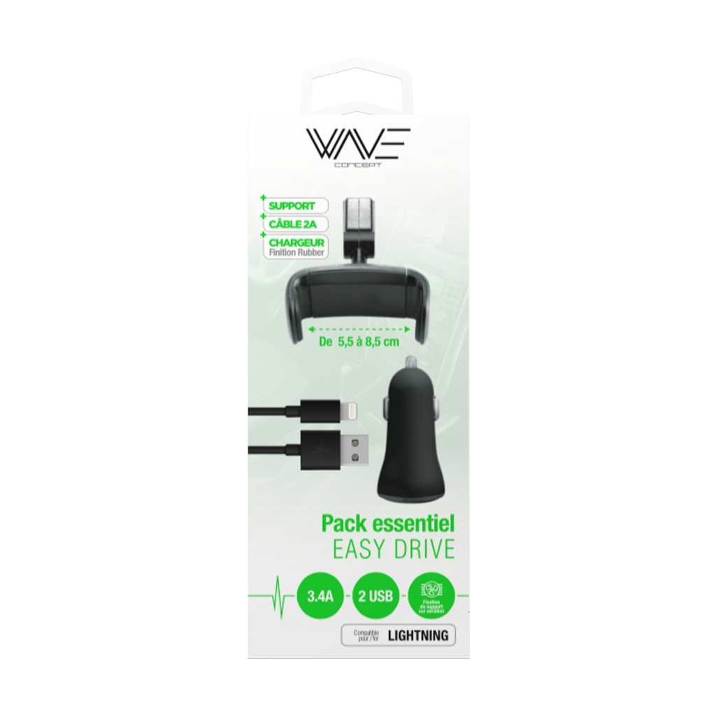Pack Easy Drive Lightning = Support + Câble + Chargeur Voiture