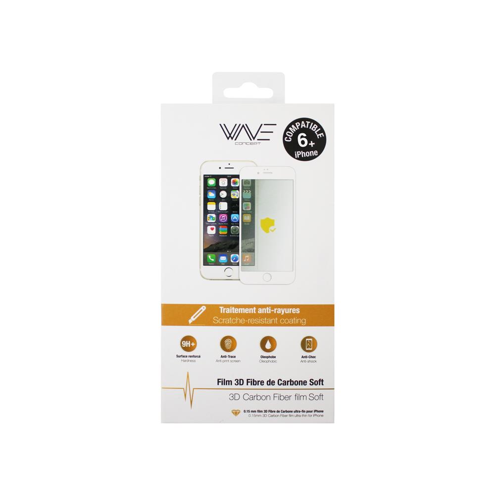 Protection d\\\'écran 3D pour iPhone 6+/6s+ en fibre de carbone Soft white