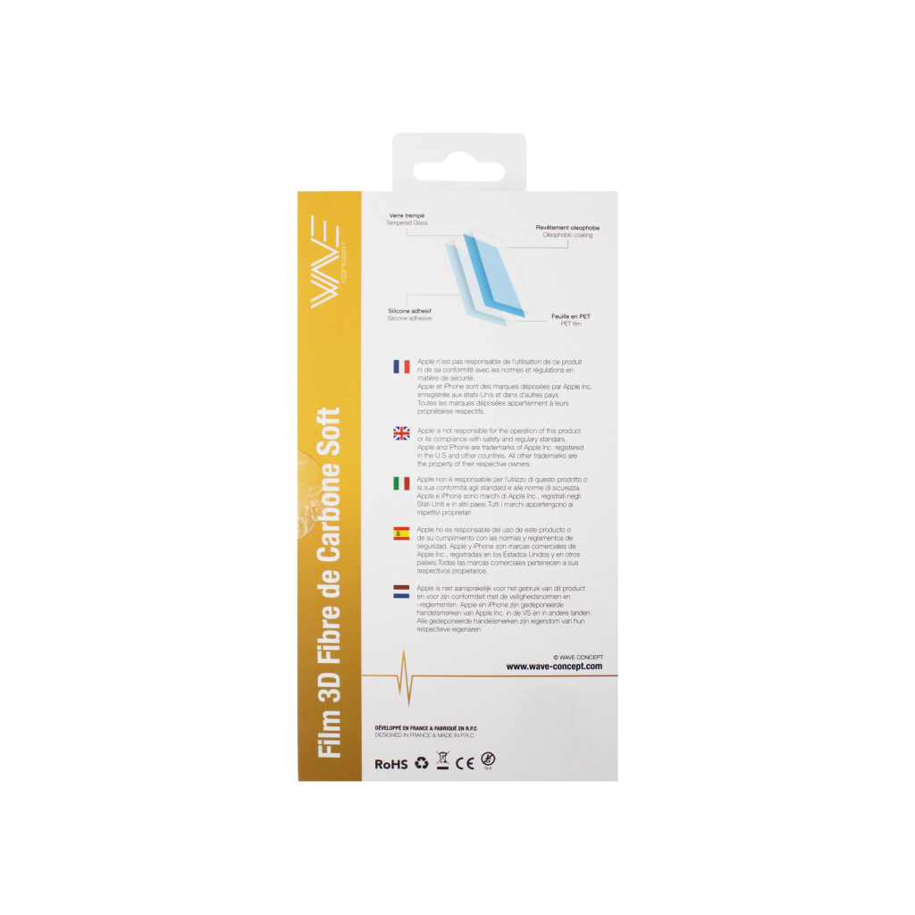 Protection d\\\'écran 3D pour iPhone 6/6s en fibre de carbone Soft black