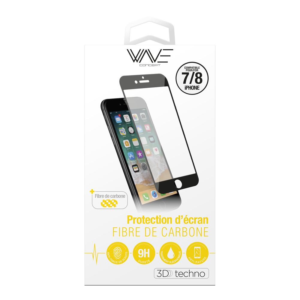 Protection d\\\'écran 3D pour iPhone 7/8 en fibre de carbone Soft Black