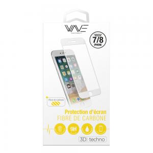 Protection d\\\'écran 3D pour iPhone 7/8 en fibre de carbone Soft White